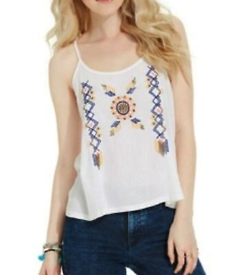 American Rag Juniors' Embroidered Tank Top, White, XS ()