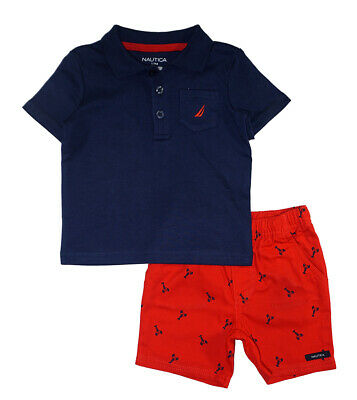 Nautica Infant Boys Navy Polo 2pc Short Set Size 12M 18M 24M $50 Boys Navy Short Set