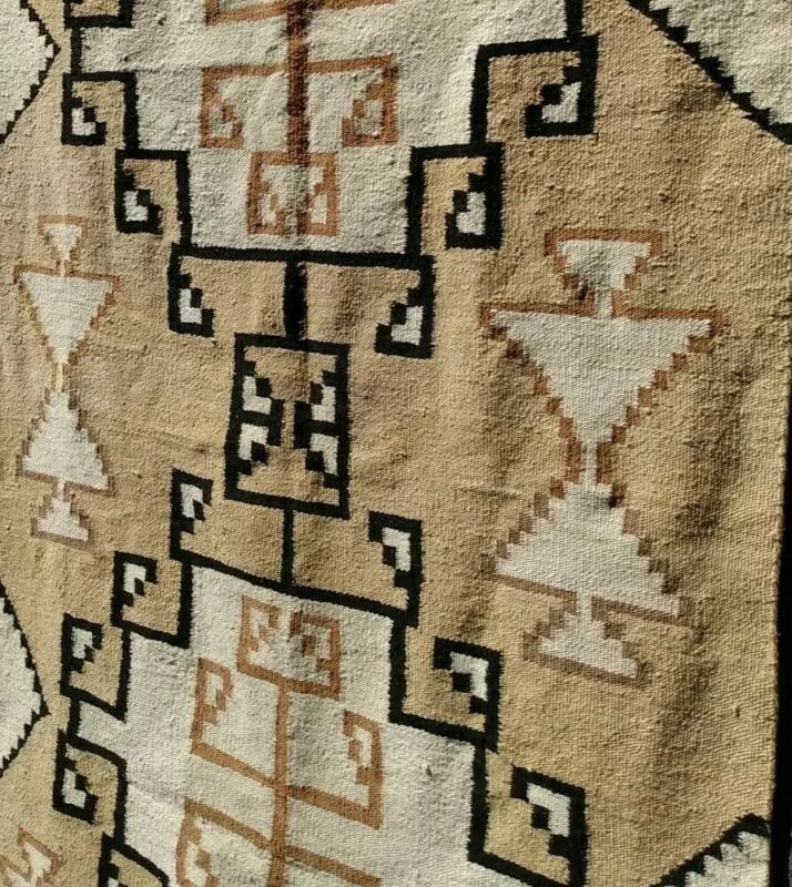 Navajo Rug Two Grey Hills Antique Native American Transitional Weaving 1910