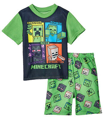 Minecraft Boys Green 2pc Pajama Short Set Size 6 8 10 12 - Minecraft Green