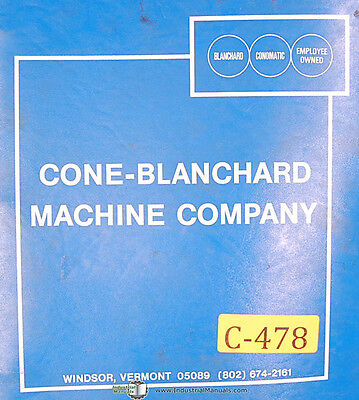 Cone Blanchard 16 Grinder Operations And Parts List Manual 1956
