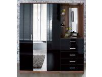 Brand New Combination Unit Walnut High Gloss Black WardrobeChest Dressing 3in1 (please check des.)