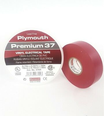 Plymouth Rubber 3704 Premium 37 Red 7 Mil Vinyl Electrical Tape 34 X 66