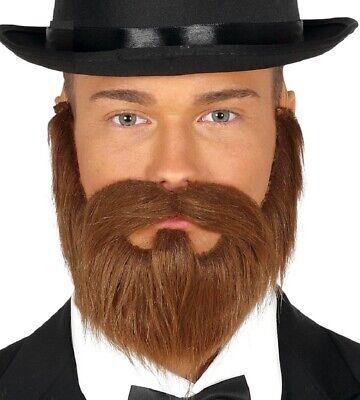 Mens Brown Fake False Moustache Goatee Beard Hair Fancy Dress Costume Outfit](Fake Moustache)