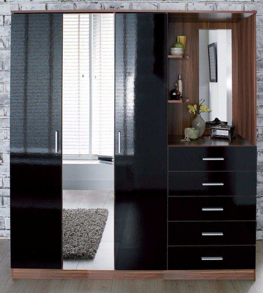 Mirrored Combi Unit Door Mirror Wardrobe Chest Of Drawers - Black gloss chest of drawers