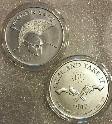 2017 1 oz .999 Silver Molon Labe colt 45 second amendment AR 15 come and take it
