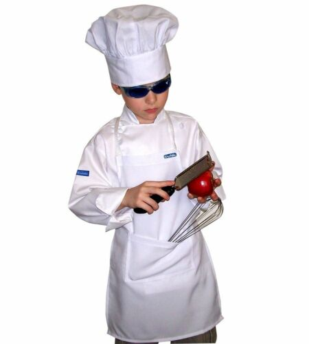 Set BABY TODDLER CHEF APRON + HAT REAL FABRIC COLOR HIGH QUALITY CHEFSKIN