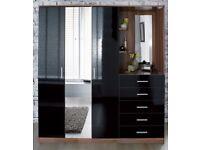 Brand New Mirrored Combi Unit 3 door mirror Wardrobe Chest Of Drawers Dressing Area Black gloss