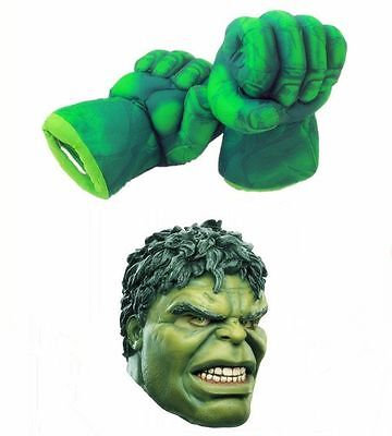 Hulk Gloves (Costume Green Hulk Mask Hulk Smash Hands Fists Big Soft Plush Gloves)