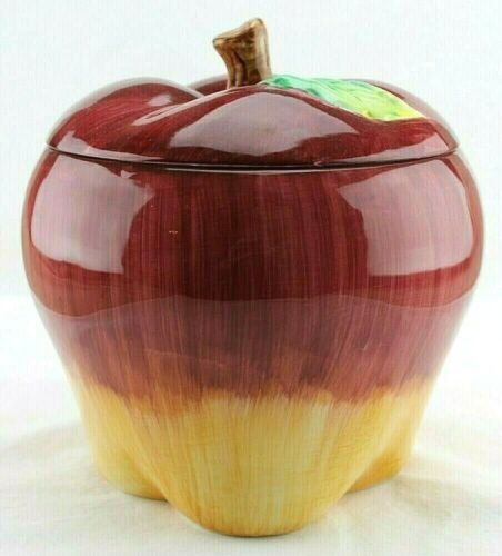 Vtg Red & Yellow Apple Cookie Jar - Glazed Ceramic - Asia Master Group, China