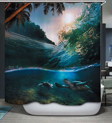 Palm Shower Curtain (Turtle Swimming Underwater Wave Fabric SHOWER CURTAIN & Hooks Tropical Sea)