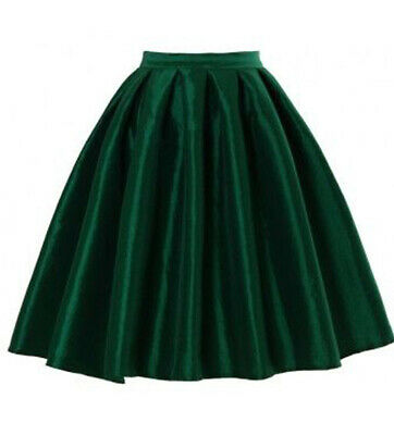 Satin Vintage Skirt (Vintage Women High Waist Above Knee Flared Skater Pleated Skirts Satin Dresses )