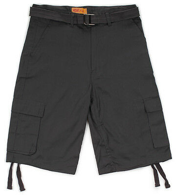 Men's Belted Cargo Pocket Twill Shorts Bottom Drawstrings 32, 34, 36, 38, 40, (Belted Pocket)
