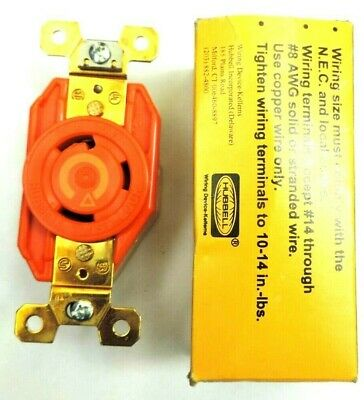 Hubbell Twist-lock Ig2610 Receptacle Socket 125v 30a L5-30r 2p 3w 1ph Orange