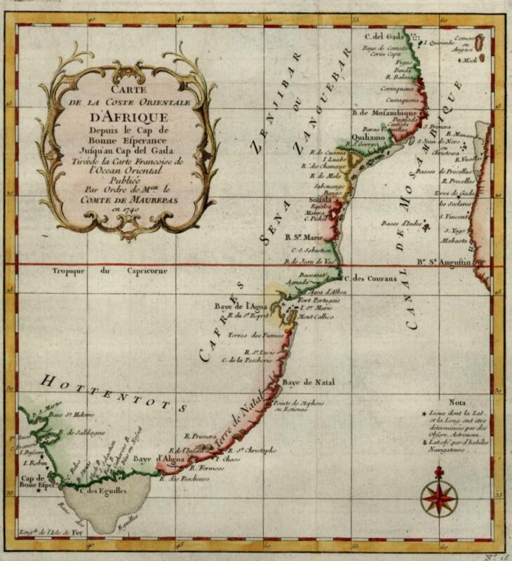 South Africa coastline Hottentots Khoikhoi Dutch Natal Colony 1740 Bellin map