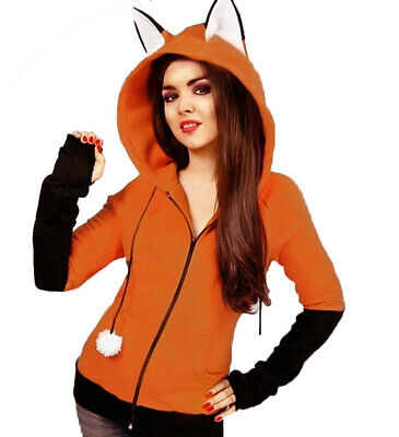 Fox Ears Hooded Sweatshirts Cute Animal Fox Cosplay Costume Coat Jacket