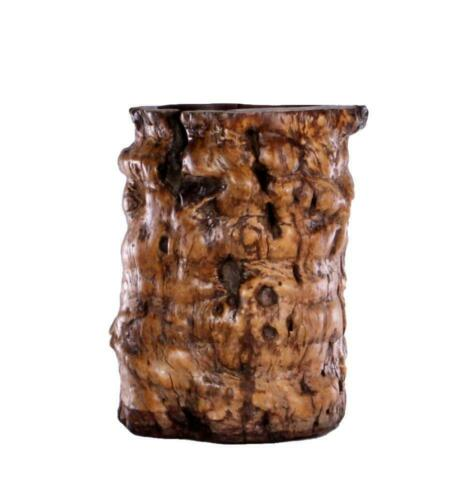 Asian Burled Wood Brush Pot