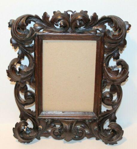 "Antique Wood Carved Picture Frame Victorian Curled Leaf Design 9.5"" X 11.5"""