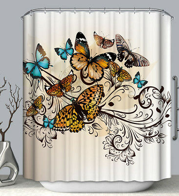 Blue Butterfly Designs (Butterfly Design Fabric SHOWER CURTAIN 70x70 w/ Hooks Monarch Orange Blue)