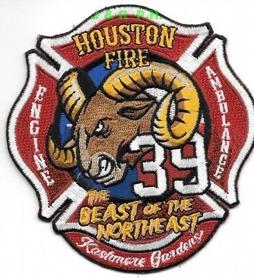 """*NEW*  Houston Station - 39  """"Beast of Northeast"""", TX  (4"""" x 4.25"""")   fire patch"""