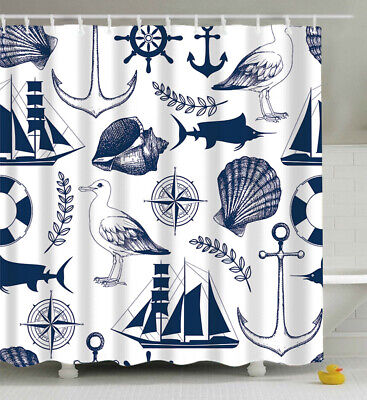 Navy White Nautical Compass Anchor Shell Fish Fabric SHOWER CURTAIN 70x70 Hooks - Nautical Shower Curtains