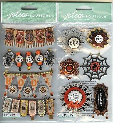 U CHOOSE  Jolee's HALLOWEEN WORD BANNERS HALLOWEEN DOILY MEDALLIONS 3D Stickers - Halloween Medallions