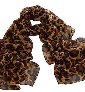 Dark Brown Leopard Animal Print 100% Silk Chiffon Neck Scarf Wrap Stole Shawl