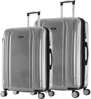 "inUSA SouthWorld Luggage 23"" & 19"" 2-Piece Hardside Spinner Luggage Set - Silver"