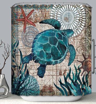 Sea Turtle Nautical Shells Design Fabric SHOWER CURTAIN 70x70 w/Hooks  - Nautical Shower Curtains