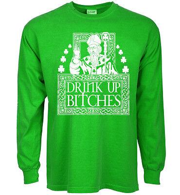 Funny st patricks day t-shirt drink up bitches saint patrick shirt for men green