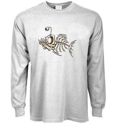 Long sleeve t-shirt fish bones decal graphic tee fishing design ()
