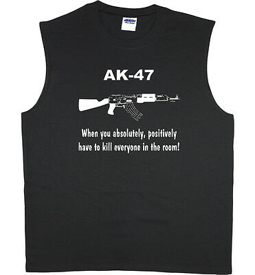 Mens Sleeveless Shirt Ak 47 Funny Saying Workout Muscle Tee Tank Top