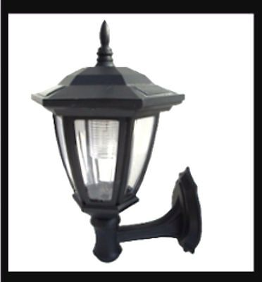 2-Wedge Garden Black Solar Hexagon Lights w/ Wall Mount With WHITE LEDS