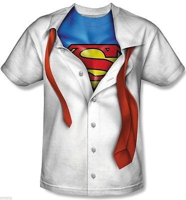 DC Comic Superman Reveal Sublimation Costume Adult Men T-Shirt LICENSED  (Superman Costume For Men)