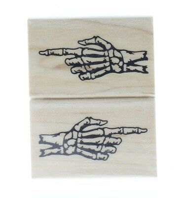 Inkadinkado Happy Halloween Skeleton Hand Finger Point  Wooden Rubber Stamp - Inkadinkado Halloween Stamps