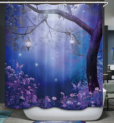 Enchanted Tree Lanterns Shower Curtain Magical Fantasy Night Moon Purple Blue
