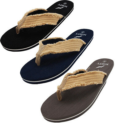 NORTY Men's Lightweight Canvas Strap Thong Flip Flop Everyday Beach Pool Sandal