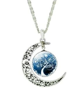 Vintage Sterling Silver Moon with Glass Tree of Life Centre Pendant Necklace - S