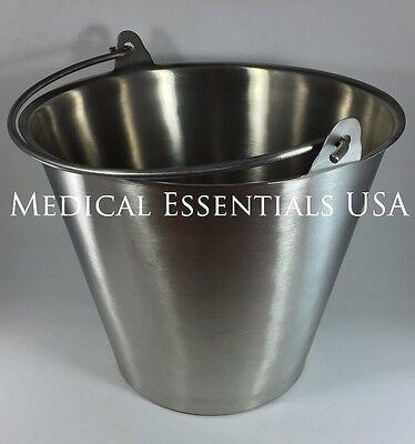 Stainless Steel Bucket Pail 13 Qt. Quart Heavy Duty Medical Mri Durable