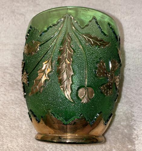 Antique EAPG 1899 DELAWARE GLASS Green Gold TUMBLER SPOONER PRESSED GLASS 4  - $7.90