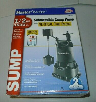 Master Plumber 12 Hp Submersible Sump Pump - Cast Iron Construction - New