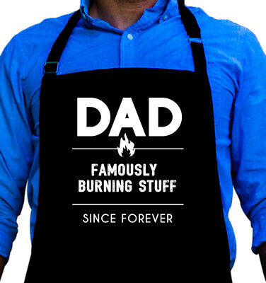 Dad Burning Stuff Cooking BBQ Funny Apron Gift for Dad or Grandpa by ApronMen ()