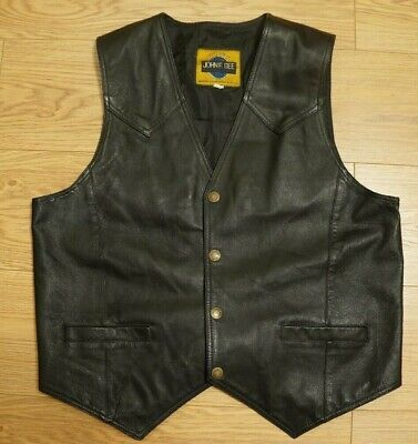 Used, MEN'S JOHN F.GEE REAL GENUINE LEATHER VEST, WAISTCOAT GILET BLACK SIZE 004, L for sale  Shipping to Nigeria