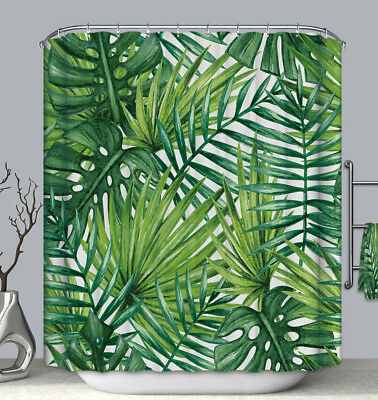 Palm Shower Curtain (Palm Fronds Fabric SHOWER CURTAIN with Hooks Green Tropical Jungle Plant)