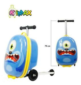 KiMAX Kids Luggage Scooter (Size: 18) - Monster Suitcase Scooter for Kids (3 Years up)
