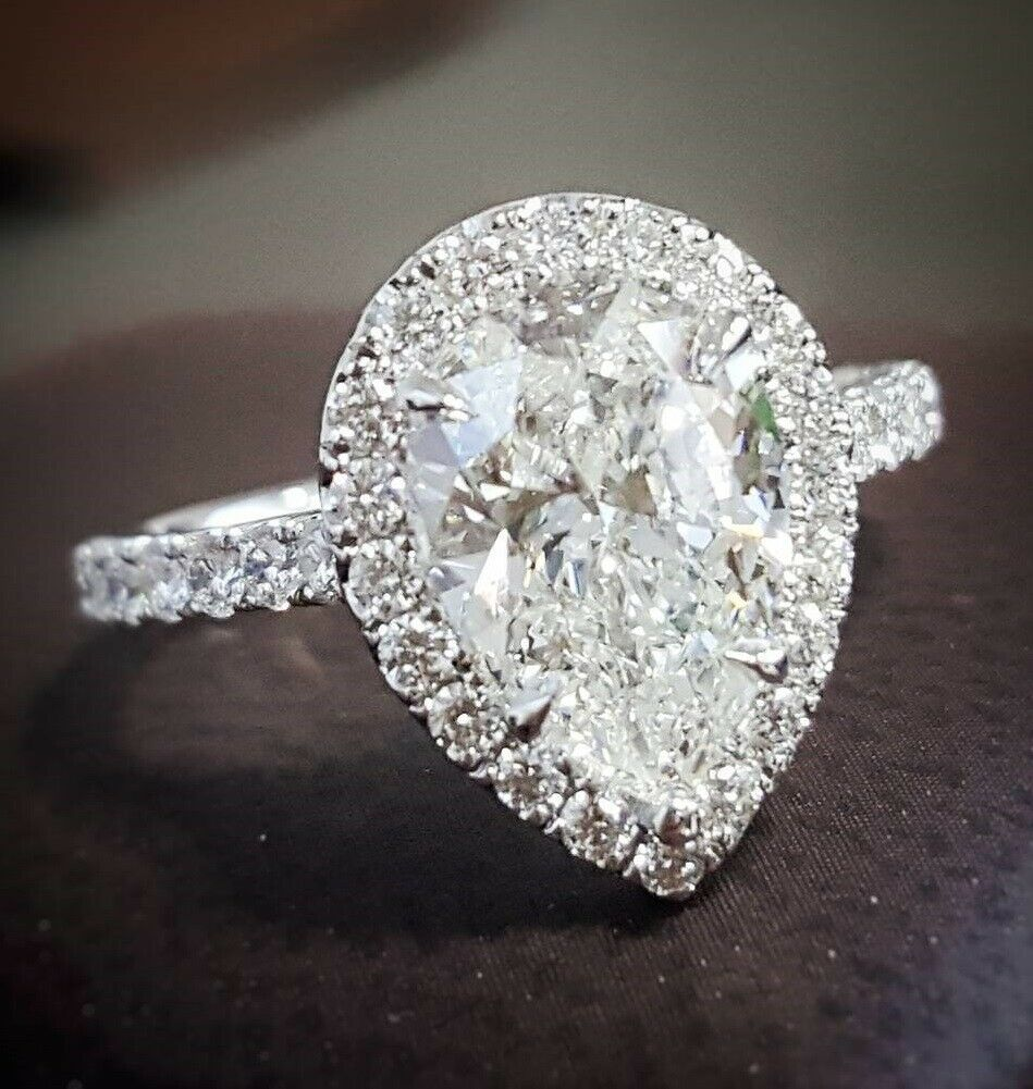 14K WG Genuine 1.30 Ct Pear Brilliant Cut Diamond Engagement Ring H,VS2 GIA