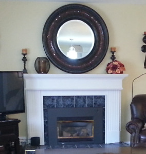 Propane Fireplace Insert and Wooden Mantle For Sale