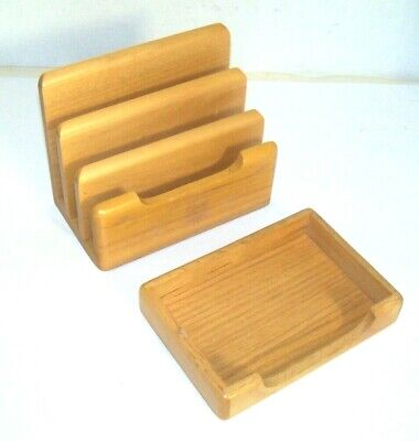Wooden Desk Office Mail Letter In - Out File Organizer 3 Slot Note Tray