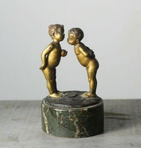 Antique c. 1900 Signed Bergmann Young Adam & Eve Austrian Bronze Hotel Desk Bell