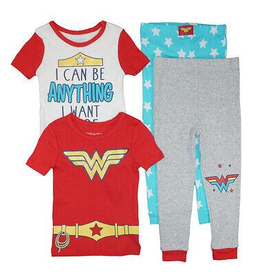 Wonder Woman Toddler Girls 4pc Snug Fit Pajama Pant Set Size 2T 3T 4T (Toddler Wonder Woman Pajamas)